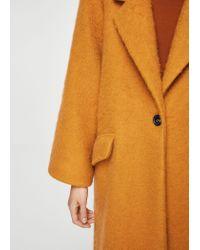 Mango - Orange Mohair Wool-blend Coat - Lyst