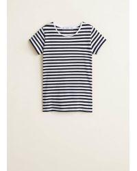 Mango - Blue Essential Cotton T-shirt - Lyst