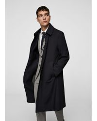Mango - Blue Buttons Wool Trench Coat for Men - Lyst