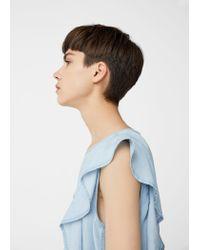 Mango - Blue Frilled Denim Shirt - Lyst