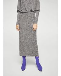Mango | Gray Knit Pencil Skirt | Lyst