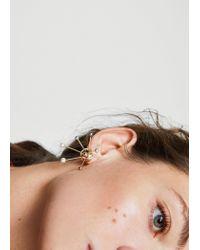 Mango | Metallic Geometric Pearl Earrings | Lyst