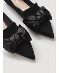 Mango - Black Satin Bow Shoes - Lyst