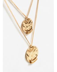 Mango - Metallic Pendant Chain Necklace - Lyst