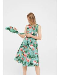 Mango - Green Tropical Print Dress - Lyst