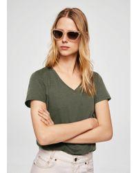 Mango - Green Mercerised T-shirt - Lyst