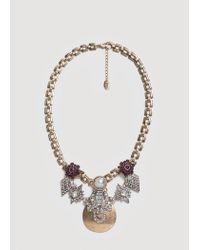 Mango - Metallic Mixed Piece Necklace - Lyst