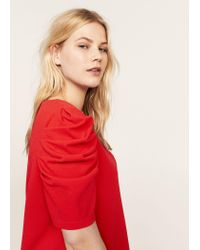 Violeta by Mango - Red Ruched Sleeve Dress - Lyst
