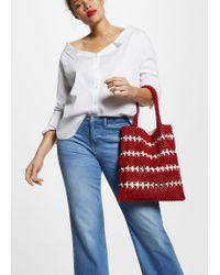 Violeta by Mango - Red Beads Bucket Bag - Lyst
