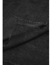 Mango - Black Frayed Edge Scarf - Lyst