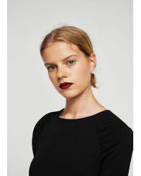Mango - Black Ruched Detail Dress - Lyst