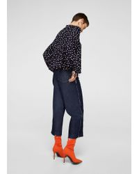 Mango Blue Printed Bow Blouse