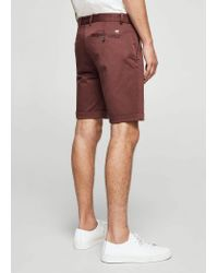 Mango - Purple Structured Cotton Bermuda Shorts for Men - Lyst