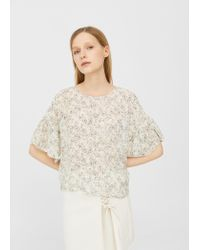 Mango | Natural Flowy Printed Blouse | Lyst
