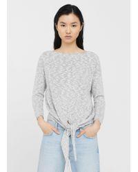 Mango - Gray Knot Detail Sweater - Lyst