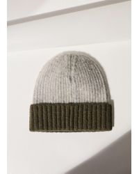 Mango - Gray Contrast Textured Hat - Lyst
