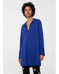 Mango - Blue Flowy Blouse - Lyst