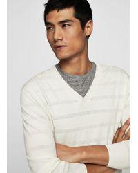 Mango White V-neck Striped Sweater for men