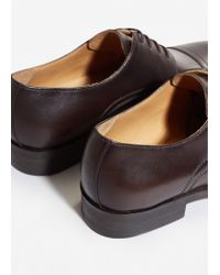 Mango - Brown Leather Blucher Shoes for Men - Lyst