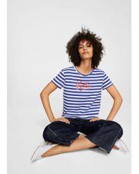 Mango - Blue T-shirt - Lyst