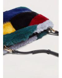Violeta by Mango   Blue Combined Faux-fur Bag   Lyst