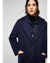 Mango - Blue Mohair Wool-blend Coat - Lyst