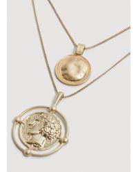 Mango - Metallic Coin Pendant Necklace - Lyst