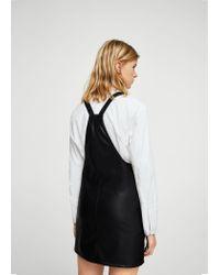 Mango - Black Faux-leather Dress - Lyst