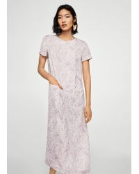 Mango - Purple Printed Long Dress - Lyst