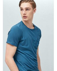 Mango | Blue Chest-pocket Soft Egyptian-cotton T-shirt for Men | Lyst