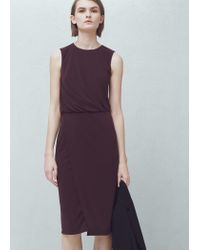 e3d98f3a5e Lyst - Mango Pleated Detail Dress in Brown