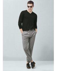 Mango - Black V-neck Wool Sweater for Men - Lyst