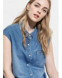 Violeta by Mango | Blue Medium Denim Shirt | Lyst