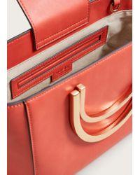 Violeta by Mango - Red Metallic Handle Tote Bag - Lyst