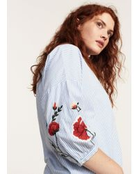 Violeta by Mango | Blue Striped Embroidery Blouse | Lyst