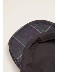 Mango - Blue Check Wool-blend Cap for Men - Lyst