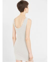 Mango - White Fitted Textured Dress - Lyst