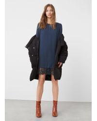 Mango - Blue Guipure Appliqué Dress - Lyst