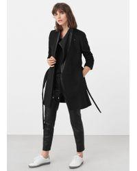Mango - Black Wool Leather Coat - Lyst