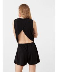Mango - Black Cut-out Back Jumpsuit - Lyst