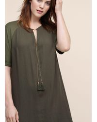 Violeta by Mango - Green Tassel Shift Dress - Lyst
