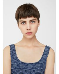 Mango - Blue Fitted Textured Dress - Lyst