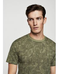 Mango - Green Printed Cotton T-shirt for Men - Lyst