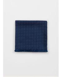 Mango - Blue Polka-dot Print Satin Foulard - Lyst