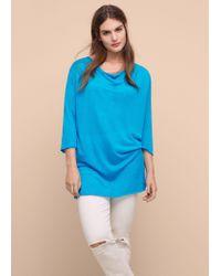 Violeta by Mango   Blue Fine-knit Linen Sweater   Lyst