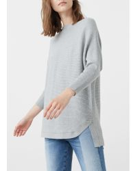 Mango - Gray Ribbed Cotton-blend Sweater - Lyst