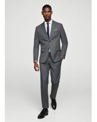 Mango - Gray Slim-fit Patterned Suit Trousers for Men - Lyst