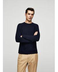 Mango - Blue Textured Sweater for Men - Lyst