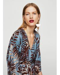 Mango Gray Leaf Print Dress