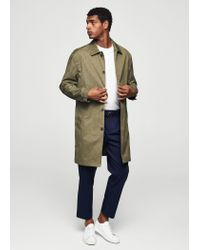 Mango - Brown Prince Of Wales Cotton Trench for Men - Lyst